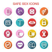 safe sex long shadow icons, flat vector symbols