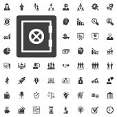 Safe vector icon on white background. Business set of icons