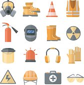 Safety at work vector icons in a flat style. Safety helmet, glasses, headphones, mask, gloves, sign, etc. Special personal protective equipment for safety at work.