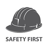 Safety hard hat icon symbol isolated on white background. Vector illustration