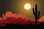 Saguaro cactus tree silhouette in night desert. Mountains background. Vector illustration