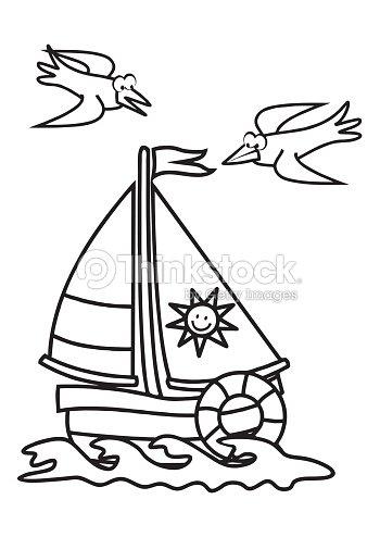 Sailboat Coloring Book Stock Vector Thinkstock