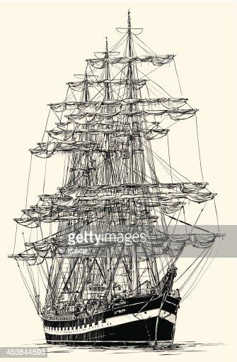 Segelschiff bleistiftzeichnung  Segelboot Vektorgrafik | Thinkstock