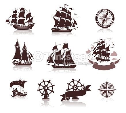 sailing ships silhouettes and marine symbols iconset vector art