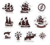 Set of various boats  silhouettes and marine symbols, EPS10 with transparent elements