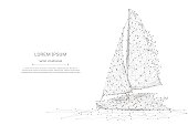 Abstract mash line and point Sailing yacht on white background with an inscription. Starry sky or space, consisting of stars and the universe. Vector Sailboat business illustration