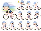 Set of various poses of Sailor suit Thick eyebrows girl_rode bicycle