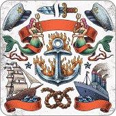 Hand-drawn set of old school tattoo sailing theme.