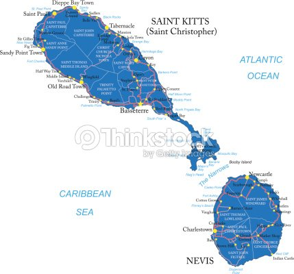 Saint Kitts And Nevis Map Vector Art Thinkstock - Saint kitts and nevis map