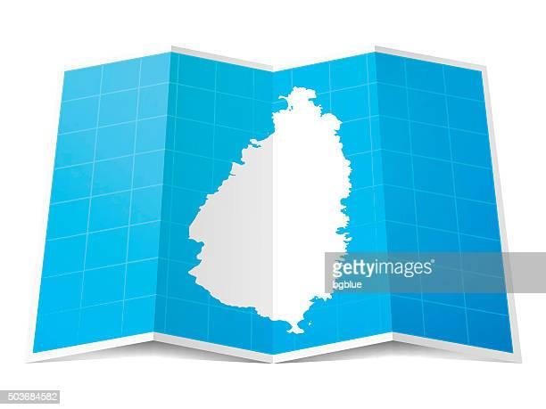 Sainte-Lucie carte repliée, isolé sur fond blanc