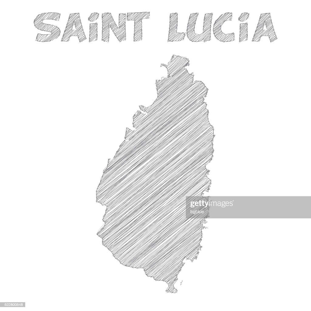 Saint Lucia Map Hand Drawn On White Background Vector Art Getty - Saint lucia map