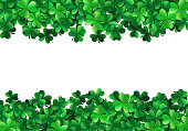 Saint Patricks day background with sprayed clover leaves or shamrocks