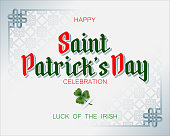 Holiday design, background with 3d handwriting texts and clover for St. Patrick's day celebration, republic of Ireland national day; Vector illustration