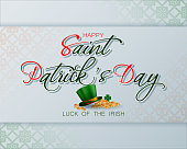 Holiday design, background with 3d handwriting texts, clover, green hat and golden coins for St. Patrick's day celebration; Vector illustration