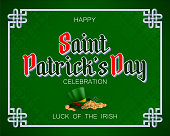 Holiday design, background with 3d handwriting texts, clover, green hat with orange ribbon and golden coins for St. Patrick's day celebration