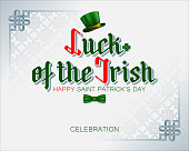 Holiday design, background with 3d handwriting texts, Celtic knot, green top hat with orange ribbon and bow tie for St. Patrick's day celebration