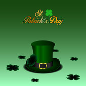 Isolated traditional patrick's day hat and clovers, Vector illustration
