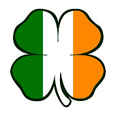 Isolated traditional clover with the irish flag, Patrick's day Vector illustration