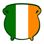 Isolated traditional money pot with the irish flag, Patrick's day vector illustration