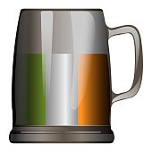 Isolated traditional beer mug with the irish flag, Patrick's day vector illustration