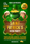 Saint Patricks Day party invitation card design template with treasure of Leprechaun, green top hat, shamrock and wooden beer mugs on green background. Vector Illustration.