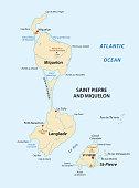 saint pierre and miquelon vector map,france