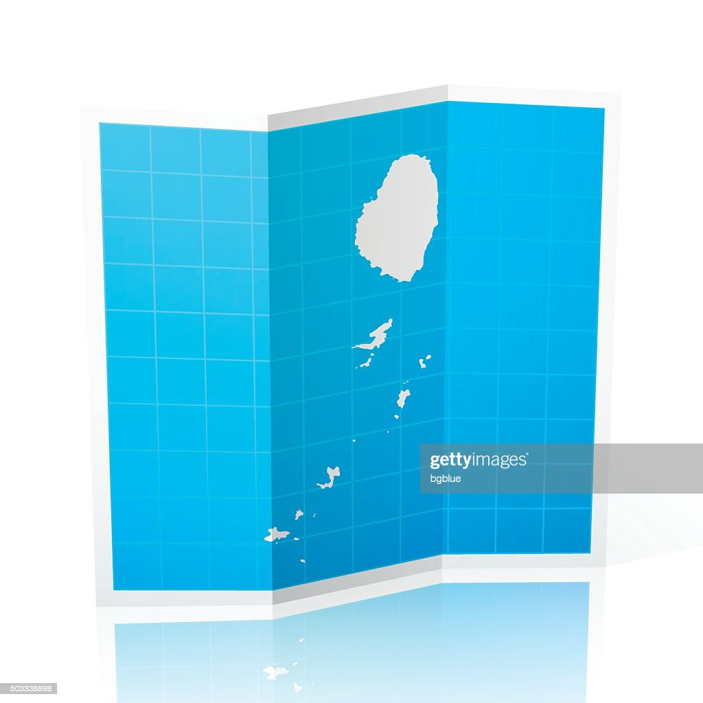Saint Vincent And The Grenadines Map Folded On White Background - Saint vincent and the grenadines map