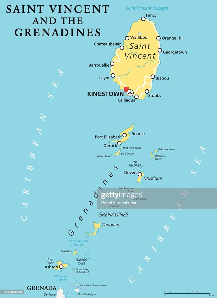 Saint Vincent And The Grenadines Political Map Vector Art Thinkstock