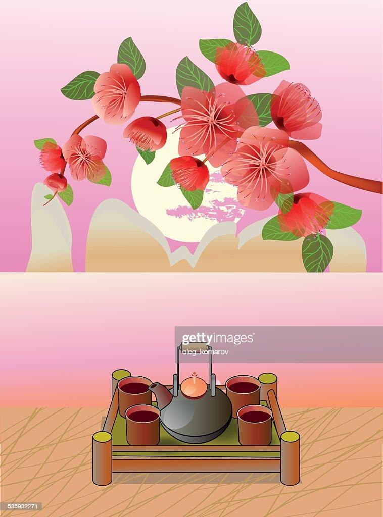 Sakura . Tea ceremony.Menu : Vector Art