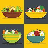 Salad bowl banner horizontal concept set. Flat illustration of 4 salad bowl vector banner horizontal concepts for web