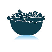 Salad In Plate Icon. Shadow Reflection Design. Vector Illustration.