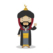 Saladin cartoon character. Vector Illustration. Kids History Collection.