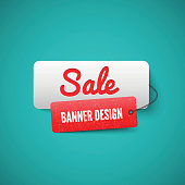 3D Sale banner tag. Sale Labels
