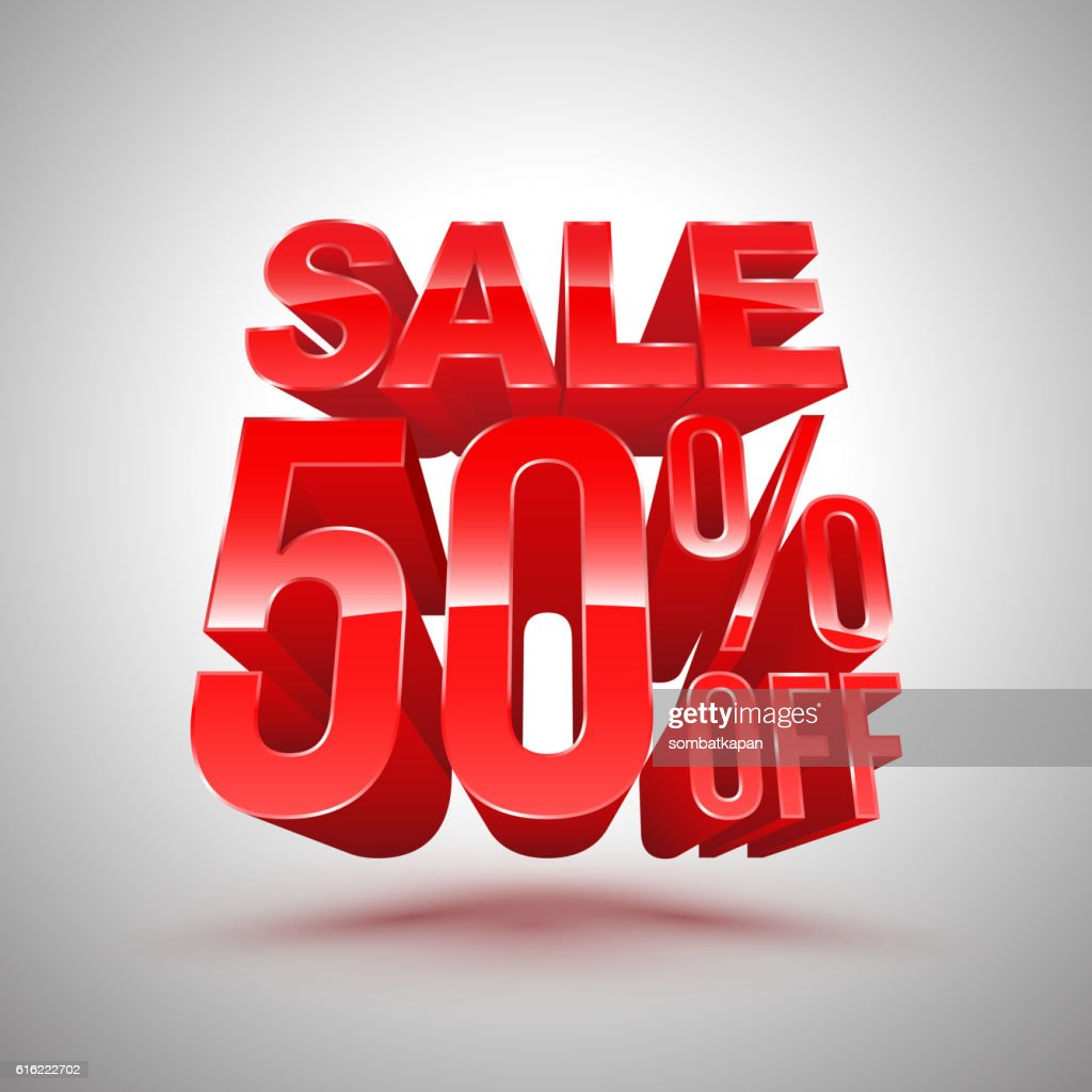 Sale 50 percent off red 3D style. : Vector Art