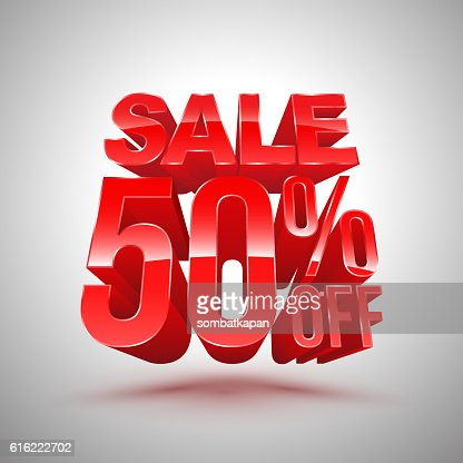 Sale 50 percent off red 3D style. : Vectorkunst
