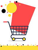 Sale banner design with shopping trolley