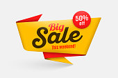 Sale banner template, special offer, end of season. Vector illustration. Color swatch control