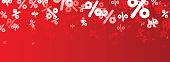 Red sale banner with percent signs. Vector paper illustration.