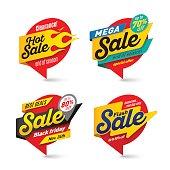 Sale banners template, hot, fire, lightning bubbles Vector illustration set