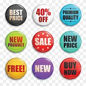Sale buttons or badges in vector