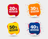 Sale discount icons. Special offer price signs. 20, 30, 40 and 50 percent off reduction symbols. Speech bubbles or chat symbols. Colored elements. Vector