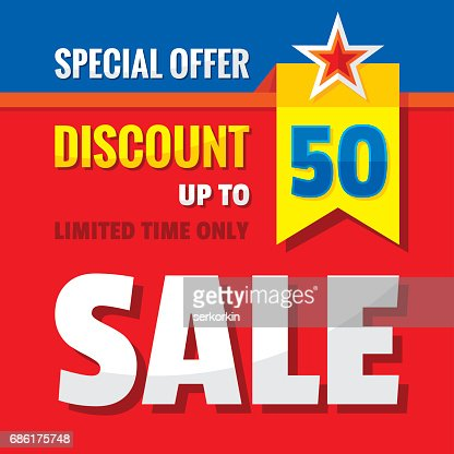 Sale Discount Up To 50 Concept Banner Vector Illustration ...