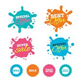 Best offer and sale splash banners. Sale icons. Special offer speech bubbles symbols. Shopping signs. Web shopping labels. Vector