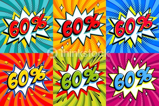 233d9a509 Sale sixty percent 60 off tags on a Comics style bang shape background. Pop  art comic discount promotion banners. Seasonal discounts