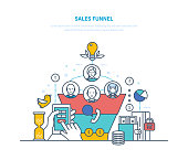 Sales funnel, conversion. Business tool of entrepreneur, schedule of customer distribution by stages of sales process, stages from contract to conclusion of transaction. Illustration thin line design.
