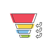 Sales Funnel with 4 stages of the sales process. Vector isolated line icon. Internet marketing concept.