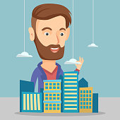 Young caucasian sales manager presenting a model of city. Hipster delighted sales manager working with a project of a new modern district of the city. Vector flat design illustration. Square layout.