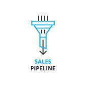 Sales pipeline concept , outline icon, linear sign, thin line pictogram, , flat illustration, vector