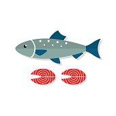 Salmon fish vector flat illustration isolated on white background. Fresh seafood icon.