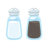 Salt and pepper shakers illustration in cartoon style. Isolated vector kitchen and cooking icons.